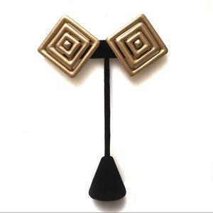 Vintage Matte Brushed Geometric Clip on Earrings
